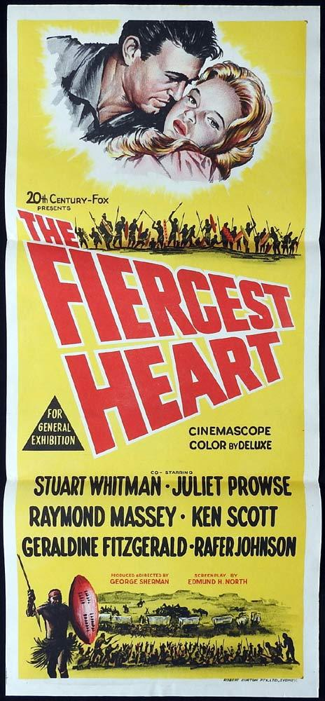 THE FIERCEST HEART Original Daybill Movie Poster Stuart Whitman South Afric Zulu
