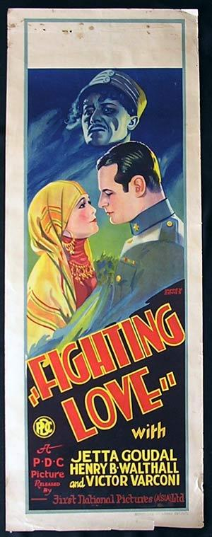 FIGHTING LOVE Long Daybill Movie poster 1927 SIlent cinema