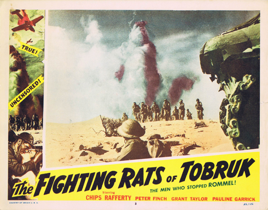FIGHTING RATS OF TOBRUK 1952 Charles Chauvel Chips Rafferty US Lobby Card 3