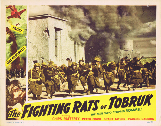 FIGHTING RATS OF TOBRUK 1952 Charles Chauvel Chips Rafferty US Lobby Card 5