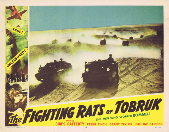 FIGHTING RATS OF TOBRUK 1952 Charles Chauvel Chips Rafferty US Lobby Card 6