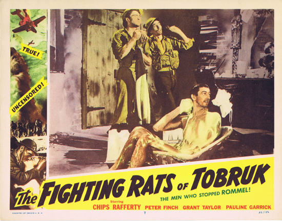 FIGHTING RATS OF TOBRUK 1952 Lobby Card 7 Chips Rafferty takes a bath