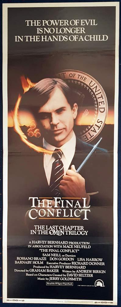 THE FINAL CONFLICT Original US Insert Movie Poster Sam Neill Rossano Brazzi