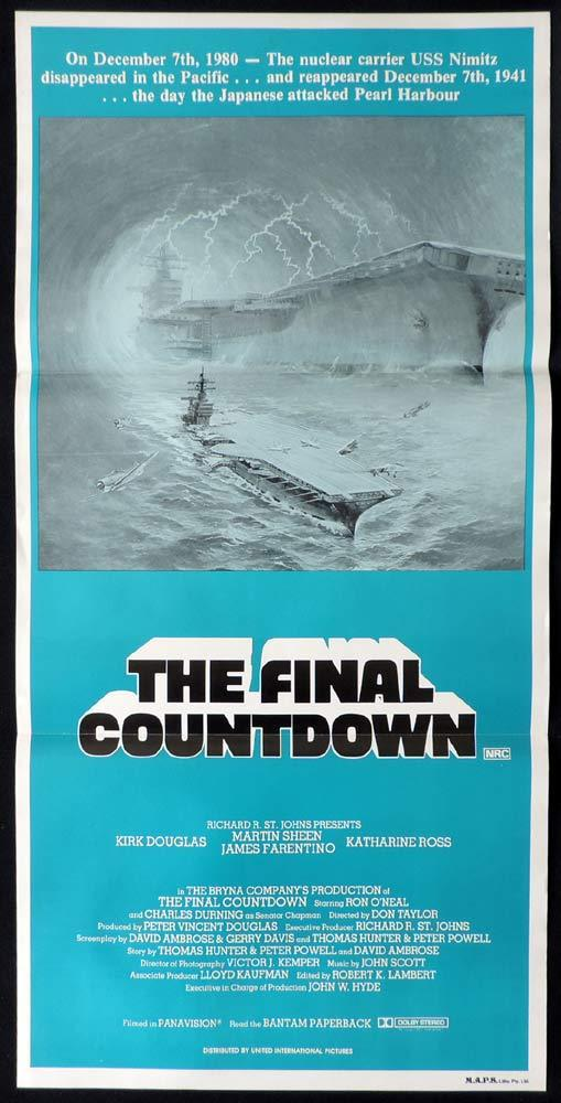 THE FINAL COUNTDOWN Original 80s Daybill Movie Poster Kirk Douglas