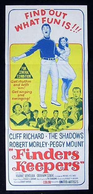 FINDERS KEEPERS Original Daybill Movie poster Cliff Richard and The Shadows poster