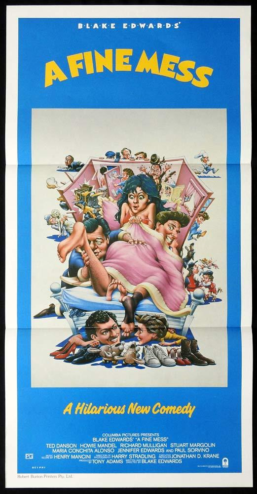 A FINE MESS Original Daybill Movie poster BLAKE EDWARDS Ted Danson Howie Mandel