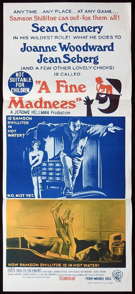 A FINE MADNESS Original Daybill Movie poster Joanne Woodward Sean Connery