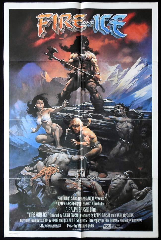 FIRE AND ICE Original One sheet Movie poster Frank Frazetta Ralph Bakshi