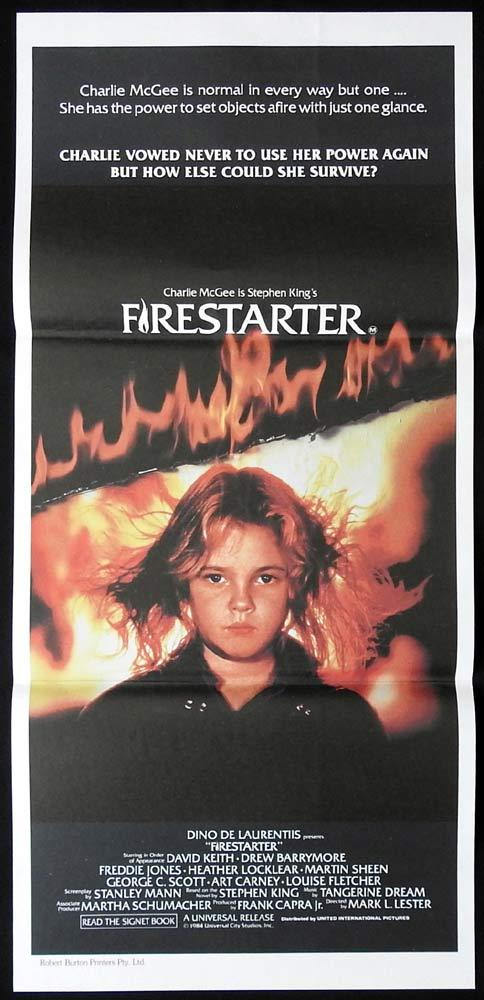 FIRESTARTER Daybill Movie poster Drew Barrymore David Keith Stephen King Horror