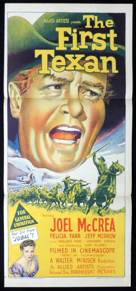 THE FIRST TEXAN Original Daybill Movie Poster JOEL MCCRAE Richardson Studio