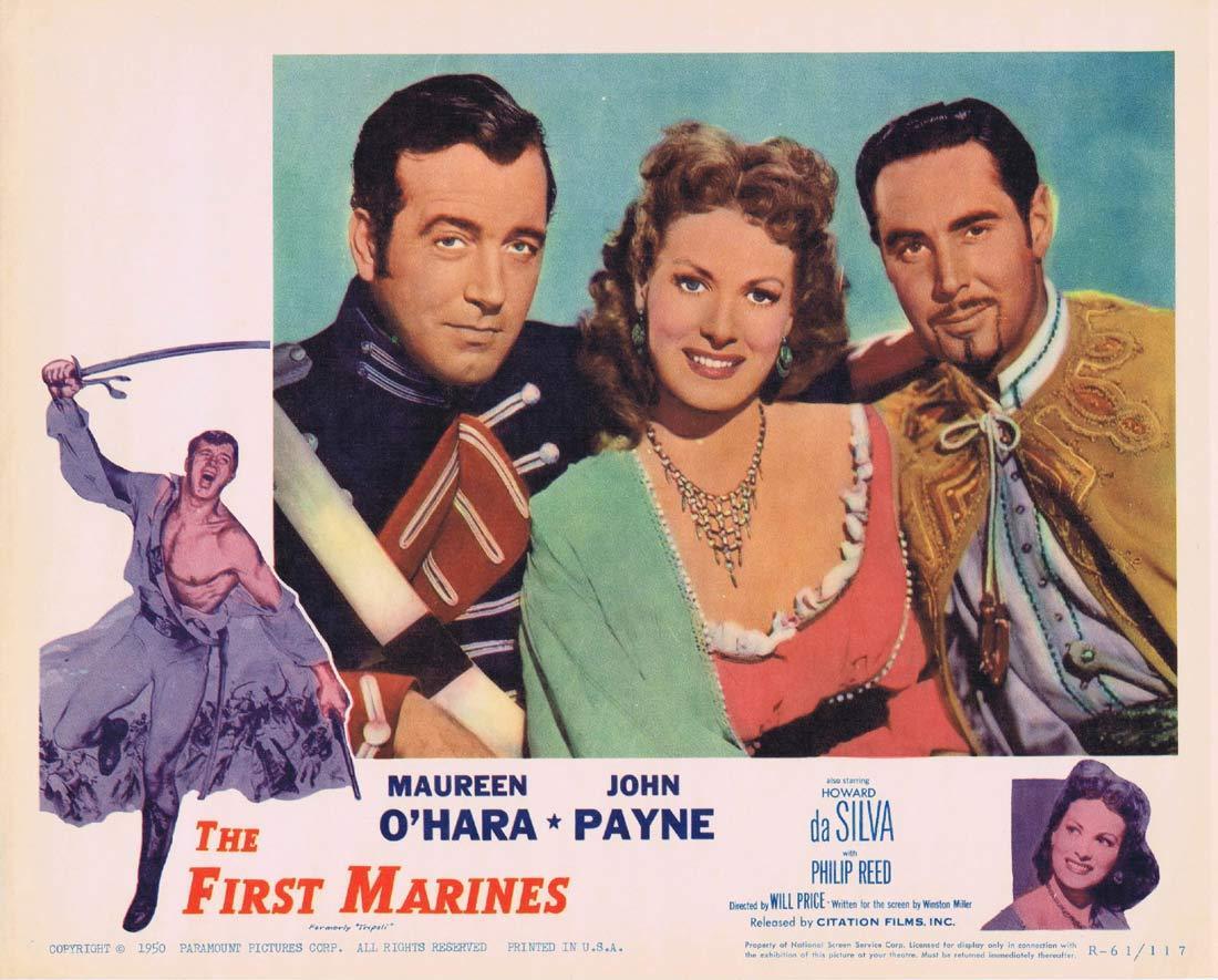 THE FIRST MARINES Original 1961r Lobby card 5 Maureen O'Hara