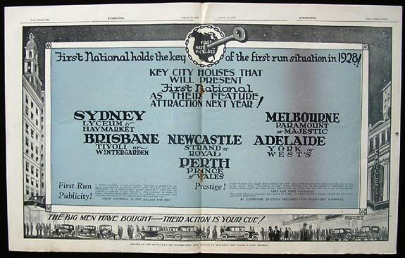FIRST NATIONAL PICTURES AUSTRALASIA Very Rare Australian Trade Ad