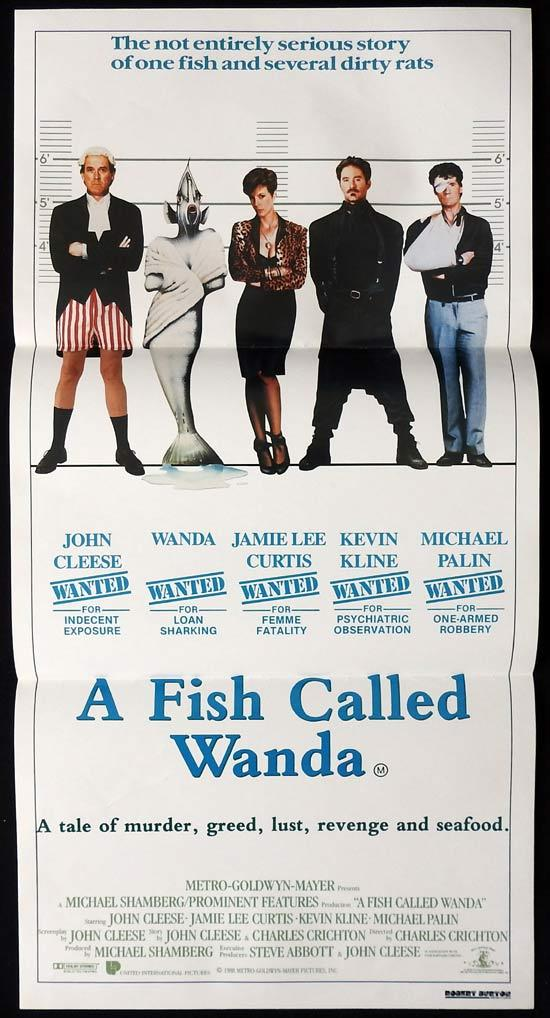A FISH CALLED WANDA Original Daybill Movie poster John Cleese Jamie Lee Curtis