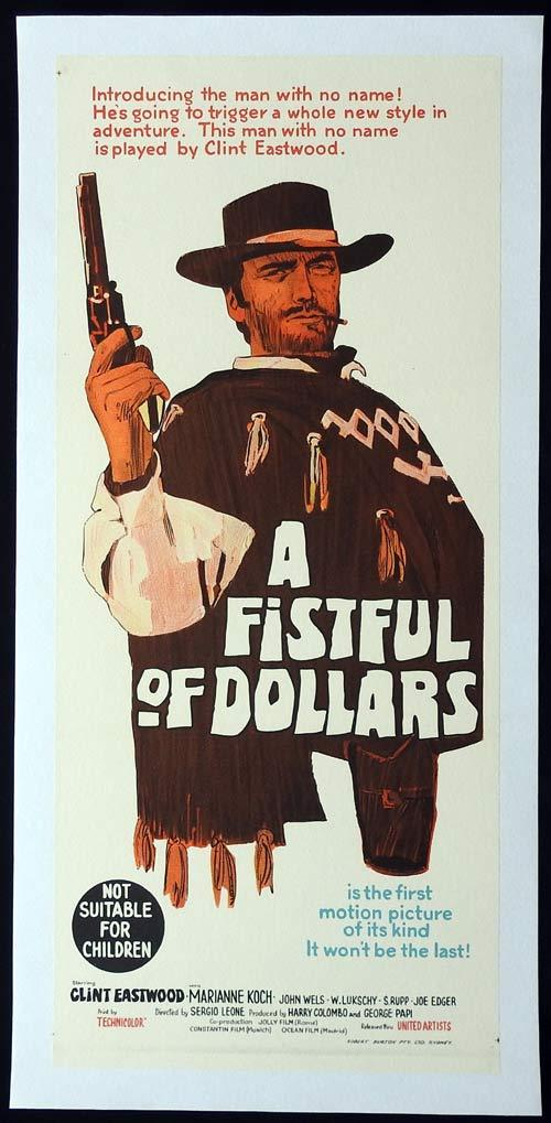 A FISTFUL OF DOLLARS Linen Backed Daybill Movie poster Clint Eastwood
