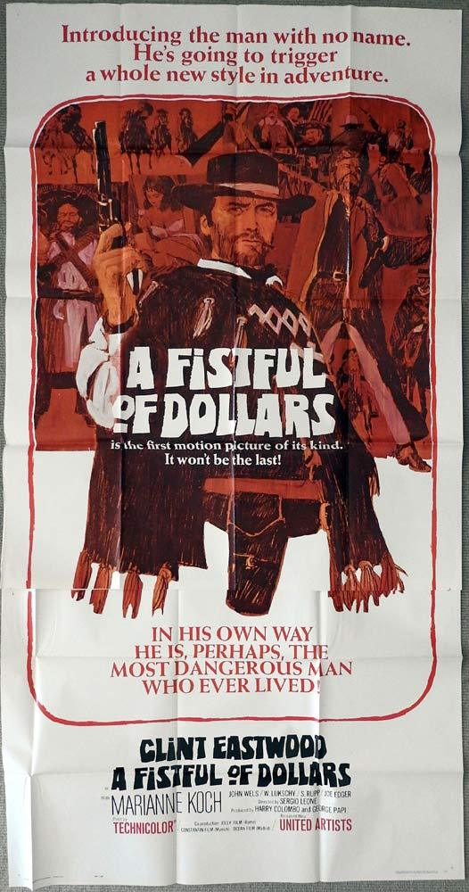 A FISTFUL OF DOLLARS Original 3 Sheet Movie Poster Clint Eastwood