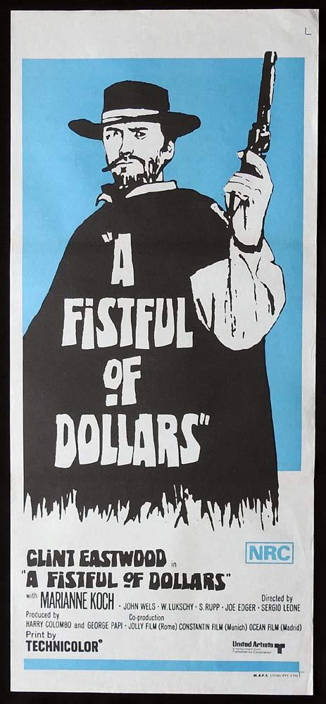 A FISTFUL OF DOLLARS Original 70sr Daybill Movie Poster Clint Eastwood Sergio Leone