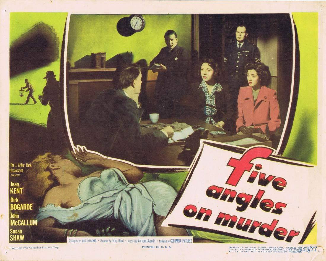 FIVE ANGLES ON MURDER Lobby card 3 Film Noir 1950 Dirk Bogarde Jean Kent