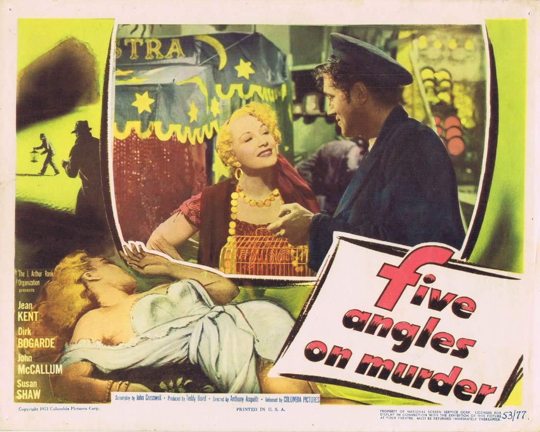 FIVE ANGLES ON MURDER Lobby card 6 Film Noir 1950 Dirk Bogarde Jean Kent