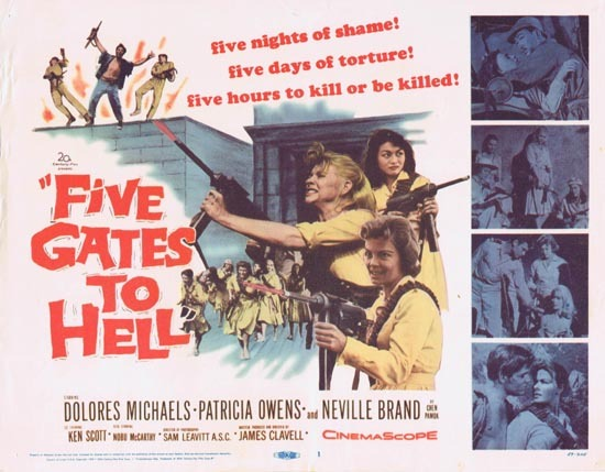 FIVE GATES TO HELL Title Lobby card 1959 Dolores Michaels Patricia Owens Neville Brand