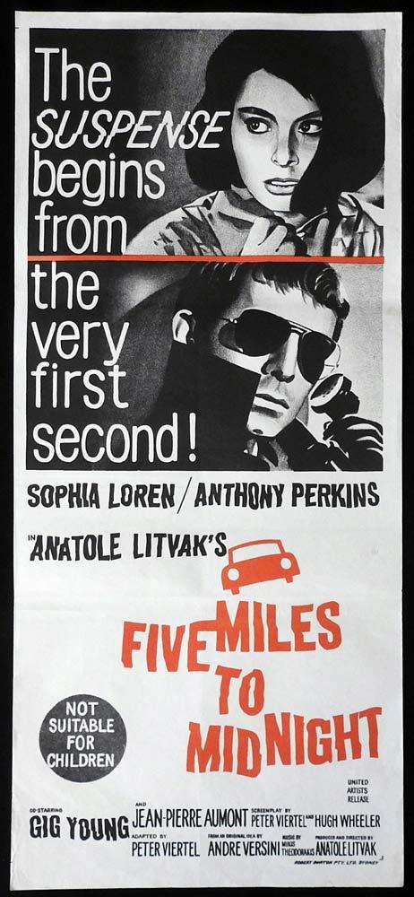 FIVE MILES TO MIDNIGHT Original Daybill Movie Poster