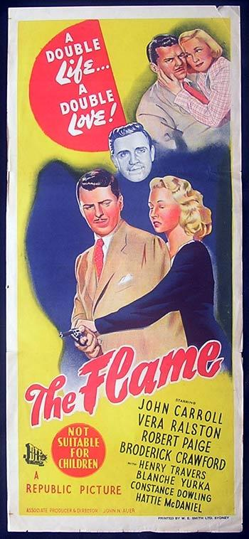 THE FLAME Film Noir Daybill Movie Poster 1947 John Carroll