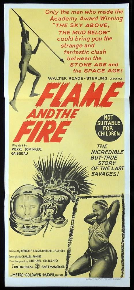 FLAME AND THE FIRE Original Daybill Movie Poster Aboriginal Wailbri tribe