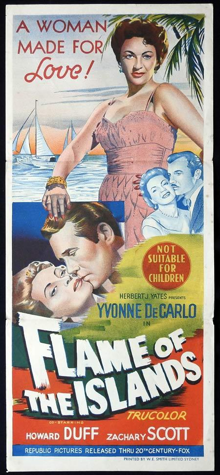 FLAME OF THE ISLANDS Original Daybill Movie Poster Yvonne De Carlo Howard Duff Zachary Scott