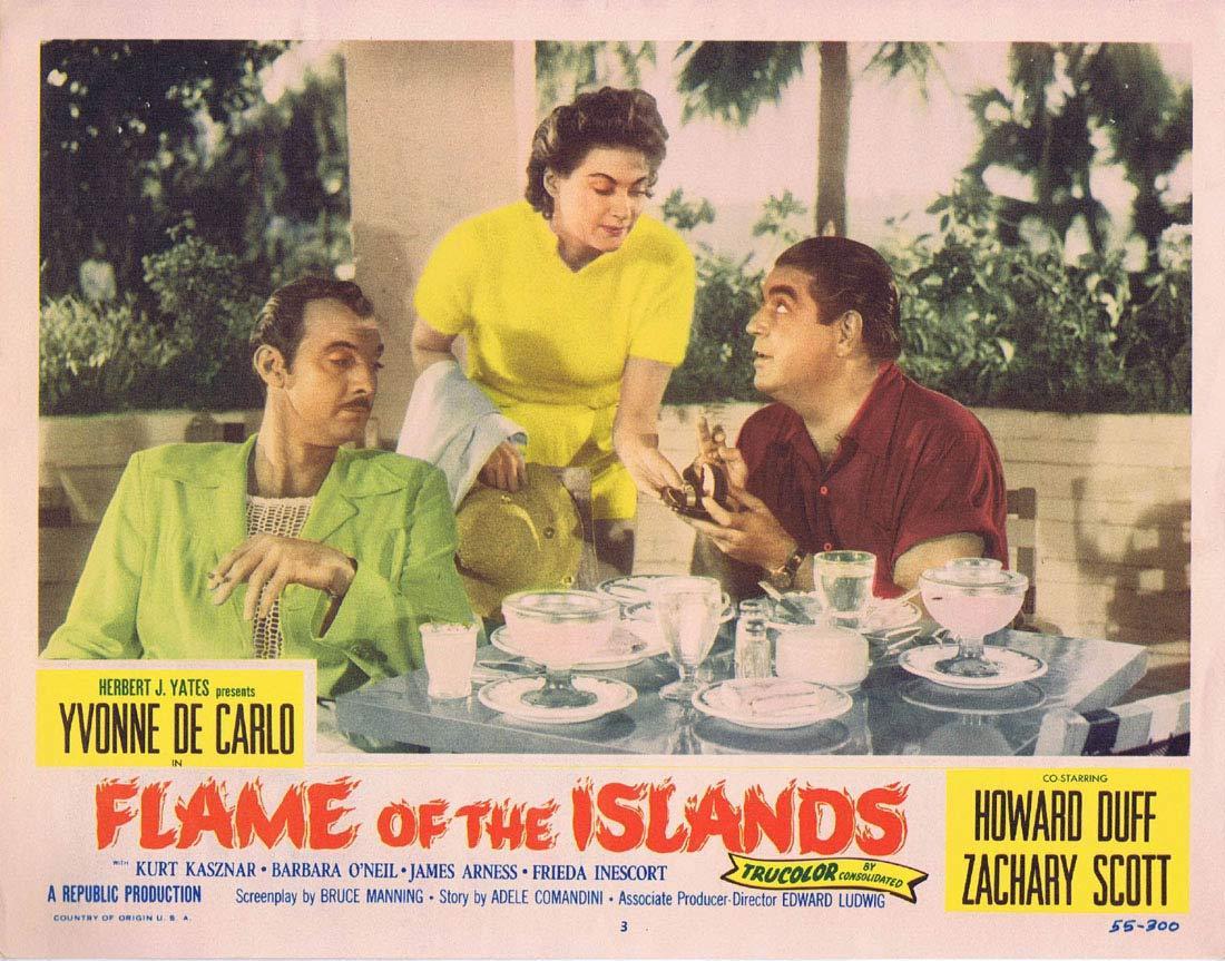 FLAME OF THE ISLANDS Lobby card 3 Yvonne De Carlo Howard Duff