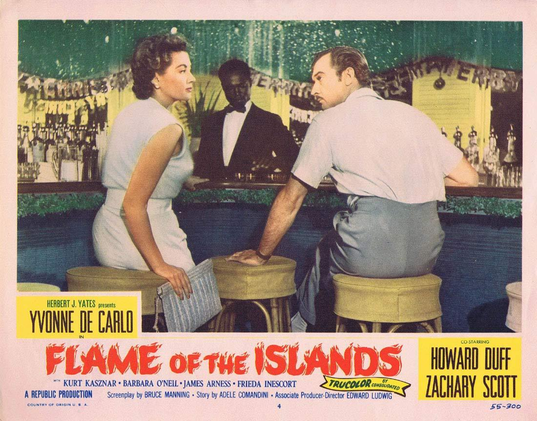 FLAME OF THE ISLANDS Lobby card 4 Yvonne De Carlo Howard Duff