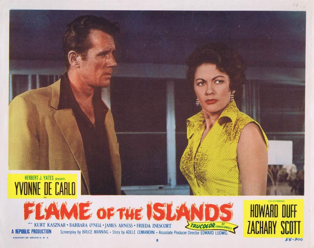 FLAME OF THE ISLANDS Original Lobby Card 8 Yvonne De Carlo Howard Duff Zachary Scott