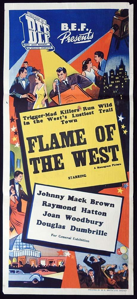 FLAME OF THE WEST Original Daybill Movie poster Johnny Mack Brown Raymond Hatton