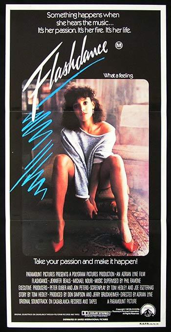 FLASHDANCE Original daybill Movie Poster Jennifer Beals Michael Nouri
