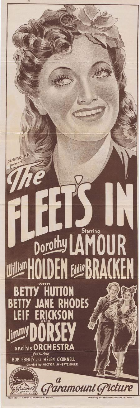 THE FLEET'S IN Original Daybill Movie Poster DOROTHY LAMOUR William Holden Richardson Studio Wartime