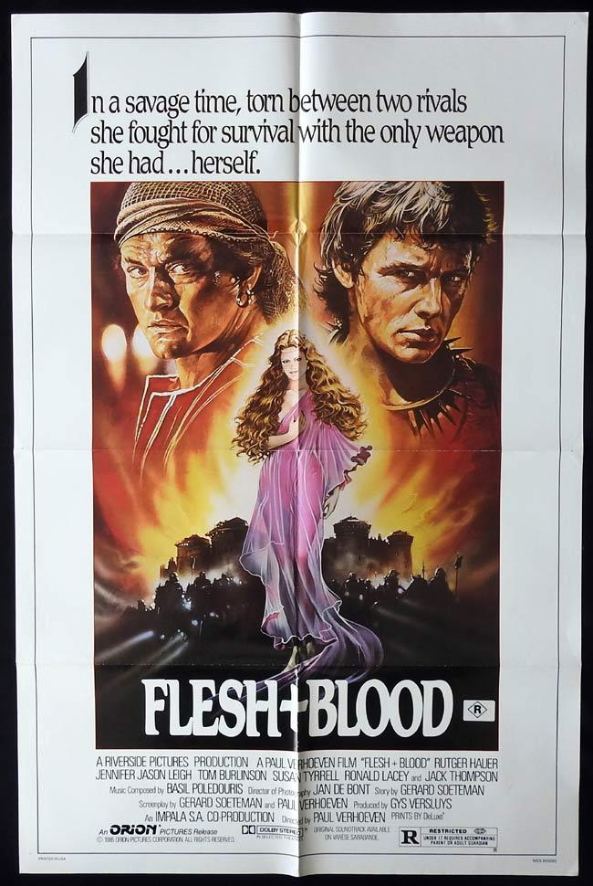 FLESH AND BLOOD Original One sheet Movie Poster Rutger Hauer Jennifer Jason Leigh Tom Burlinson