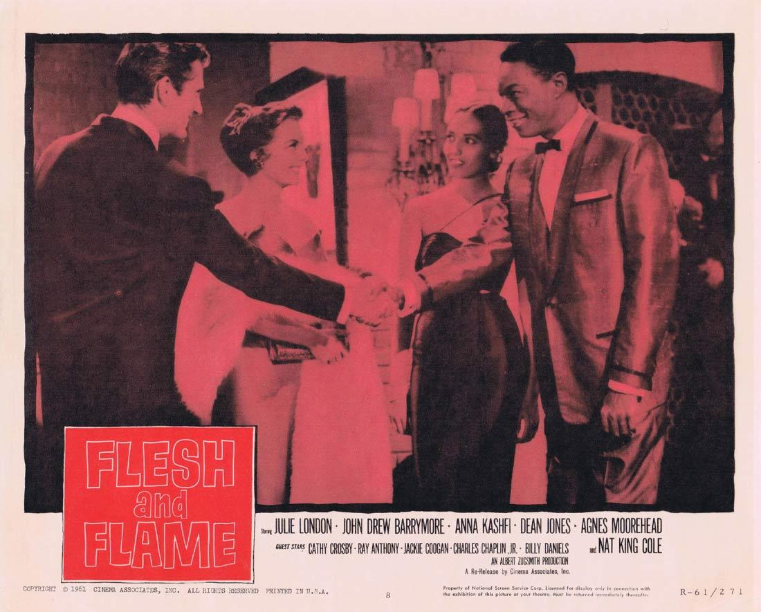 FLESH AND FLAME Lobby Card 8 Julie London John Drew Barrymore Nat King Cole 1961r