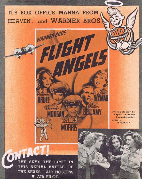 FLIGHT ANGLES 1940 Wayne Morris Movie Trade Ad