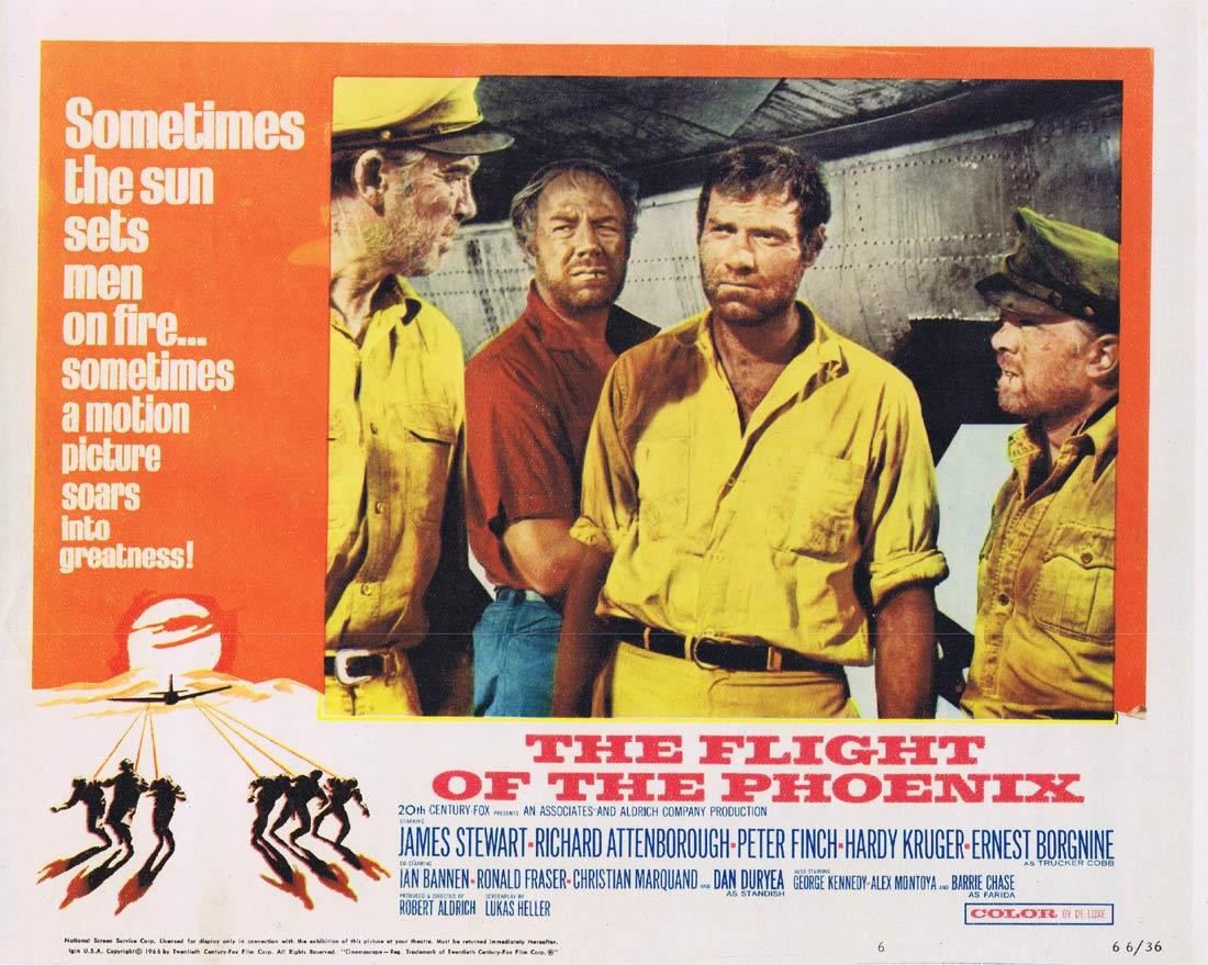 THE FLIGHT OF THE PHOENIX Vintage Movie Lobby Card 6 James Stewart Richard Attenborough Peter Finch