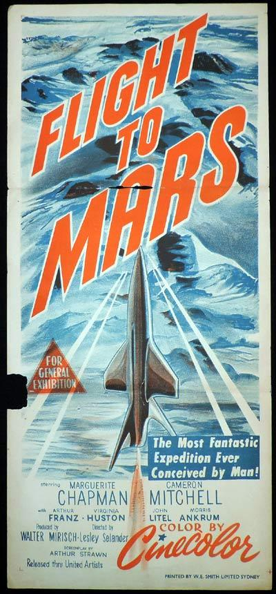 FLIGHT TO MARS Daybill Movie Poster Science Fiction Rocket