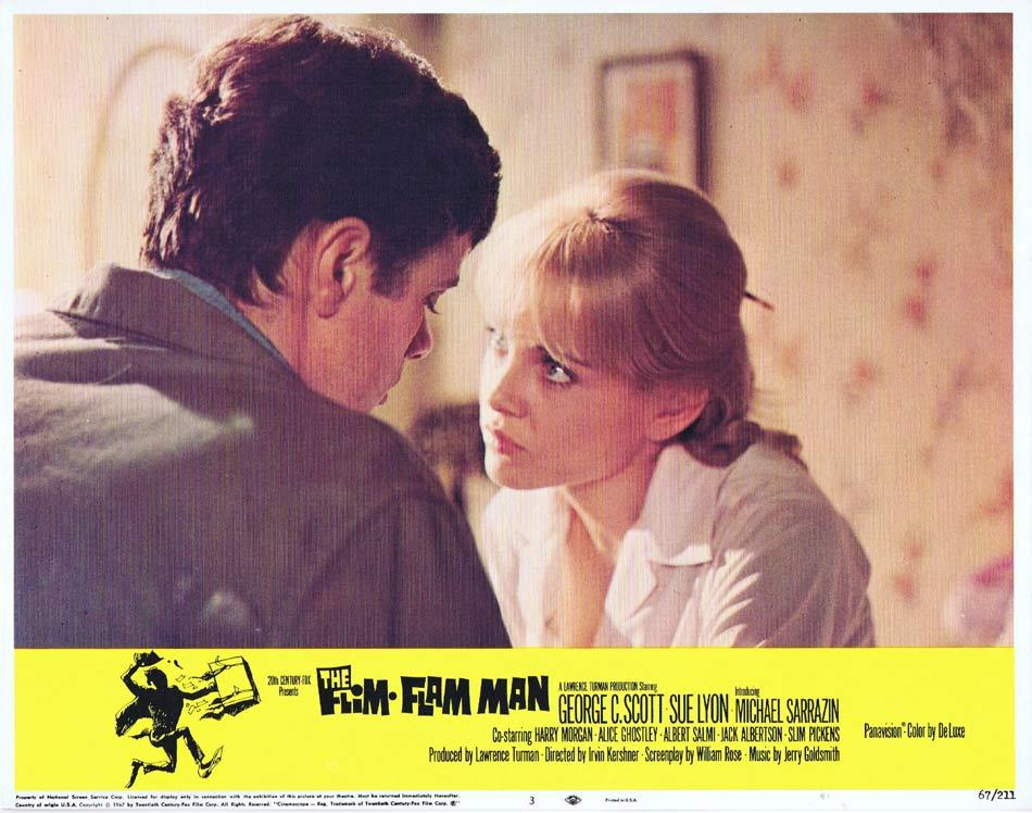 THE FLIM FLAM MAN Lobby Card 3 George C. Scott Michael Sarrazin Sue Lyon