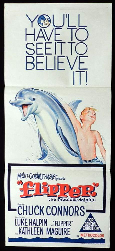 FLIPPER Original Daybill Movie Poster Chuck Connors Luke Halpin Dolphin