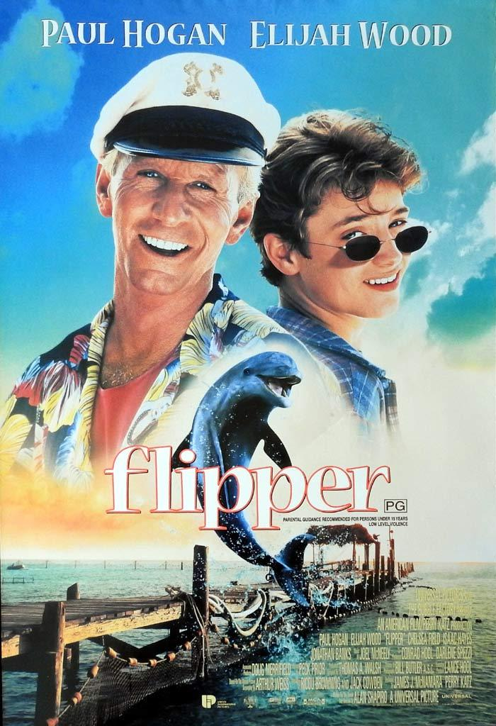 FLIPPER Original One sheet Movie poster Paul Hogan Elijah Wood