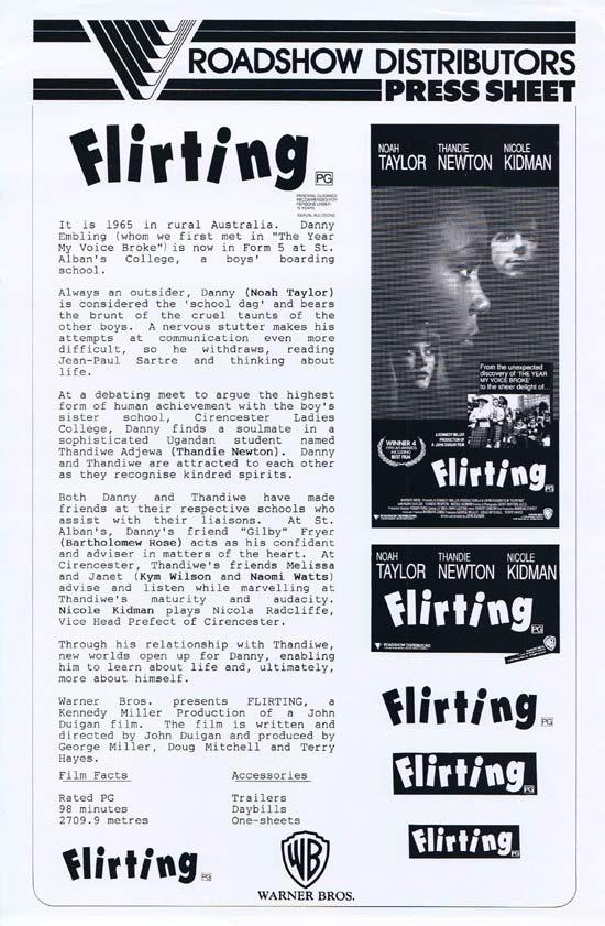 FLIRTING Rare AUSTRALIAN Movie Press Sheet