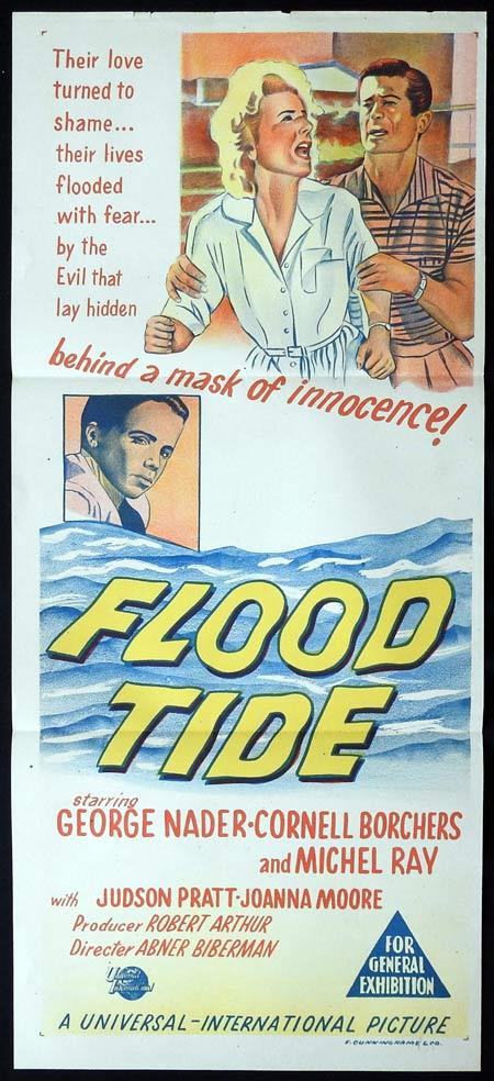 FLOOD TIDE Original Daybill Movie PosterGeorge Nader Cornell Borchers Michel Ray