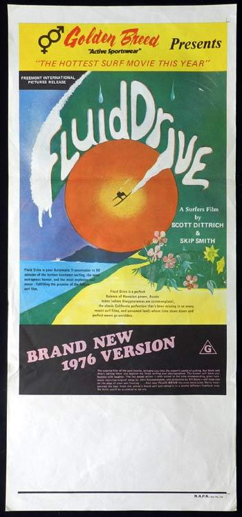 FLUID DRIVE 1977 Rare Vintage SURFING ART Daybill Movie poster Scott Dittrich
