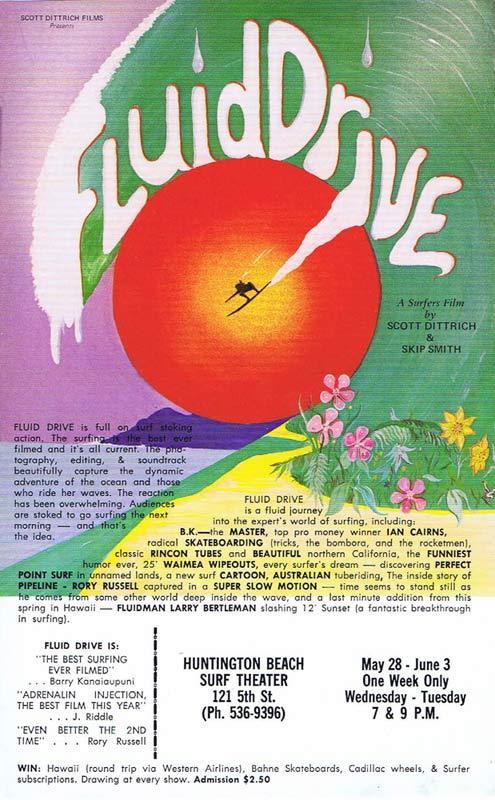 FLUID DRIVE 1977 Rare Vintage Movie Flyer SURFING ART Movie poster Scott Dittrich
