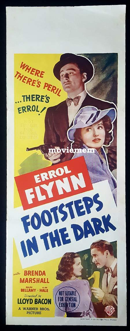 FOOTSTEPS IN THE DARK Long Daybill Movie poster ERROL FLYNN Brenda Marshall