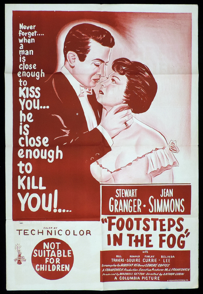 FOOTSTEPS IN THE FOG One Sheet Movie Poster Stewart Granger  Film Noir
