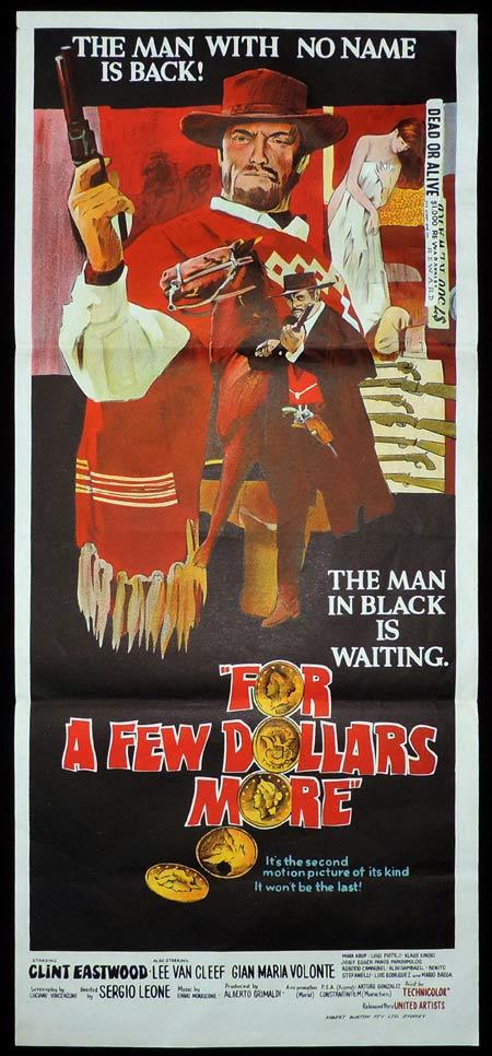 A FEW DOLLARS MORE Original Daybill Movie Poster Clint Eastwood
