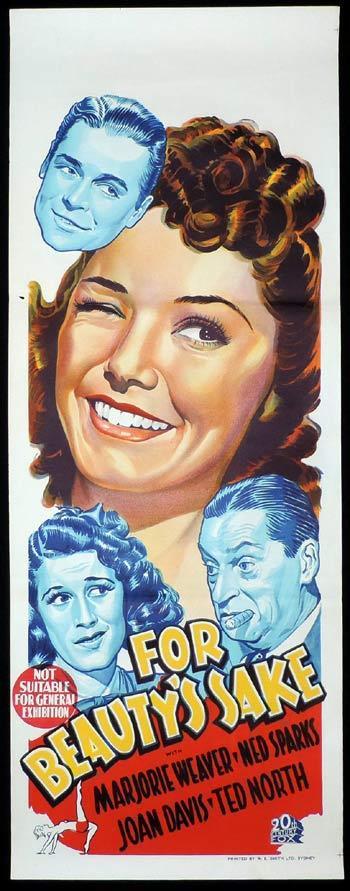 FOR BEAUTY'S SAKE Original Long daybill Movie poster 1941 Ned Sparks