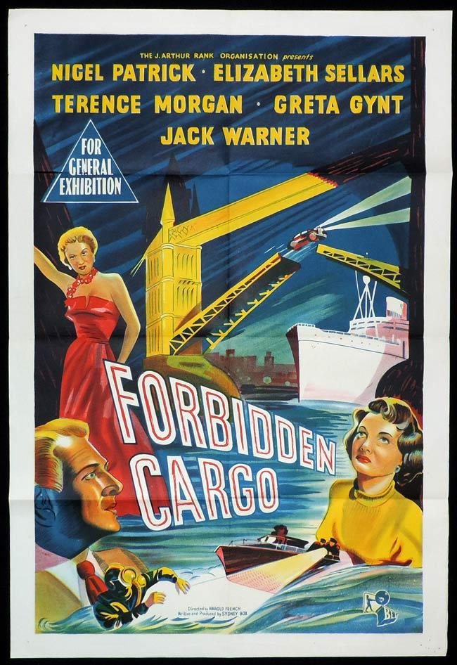FORBIDDEN CARGO Original One sheet Movie Poster Nigel Patrick Elizabeth Sellars Terence Morgan